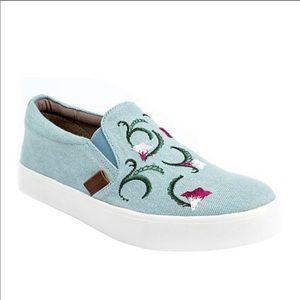 Revitalign Embroidered Blue Denim Slip On Sneakers